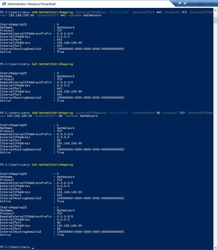 Hyper-V nested VMs with multiple IP addresses Port