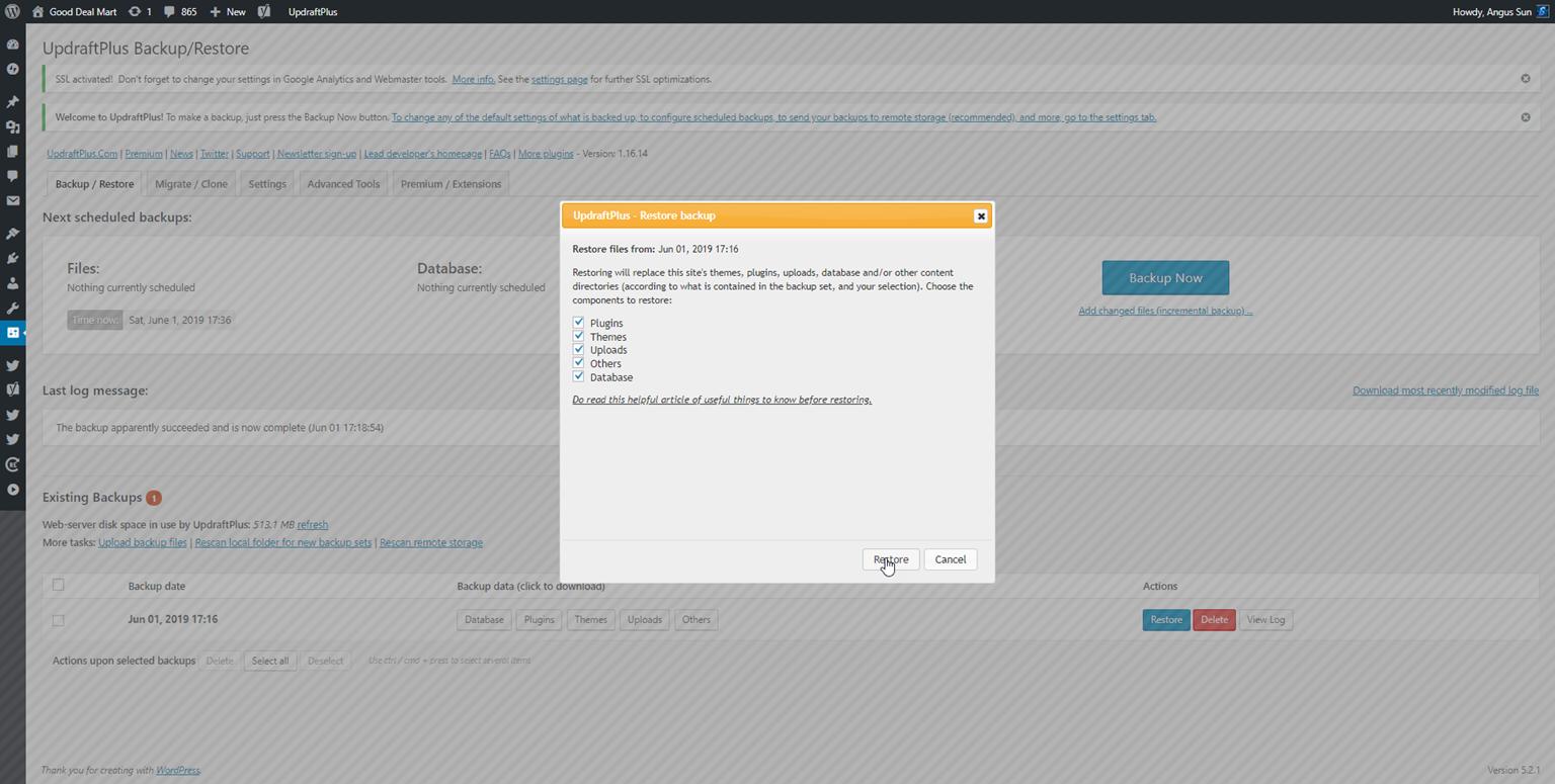 060219 0101 HowtoBackup9 - How to Backup Your WordPress Website For Free! #WordPress #Backup #Website #Free