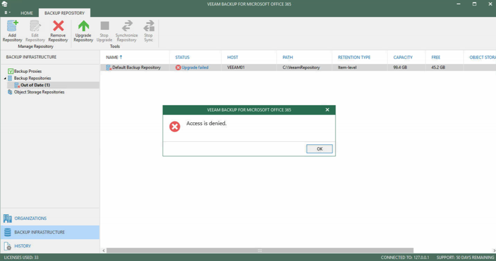 012320 1948 FIXEDAccess1 - FIXED Access is Denied Error for upgrading VBO 365 Default Backup Repository to V4 #Veeam #VBO 365 #Office 365 #Backup #Mvphour