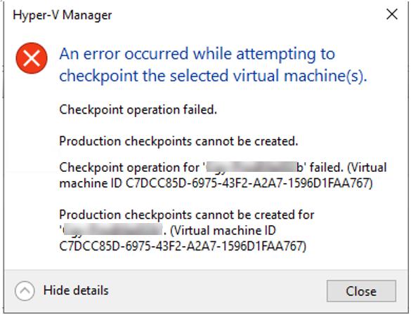 020620 2133 FixedVeeamB2 - Fixed Veeam Backup Error failed to create Production Checkpoint #Veeam #Veeam Backup and Replication #Production Checkpoint #Hyper-V #mvphour